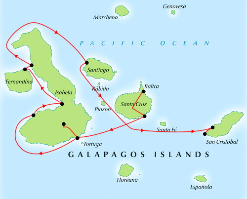 Galapagos Cruise Map