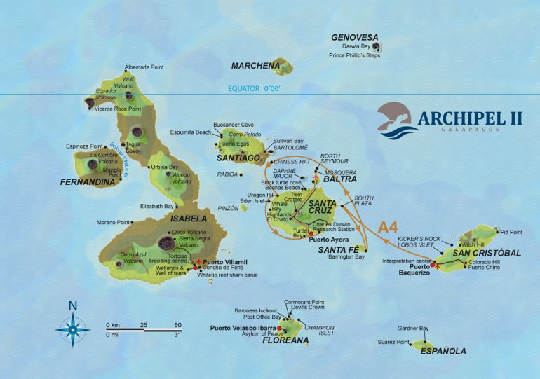 Archipel II Map Itinerary A4