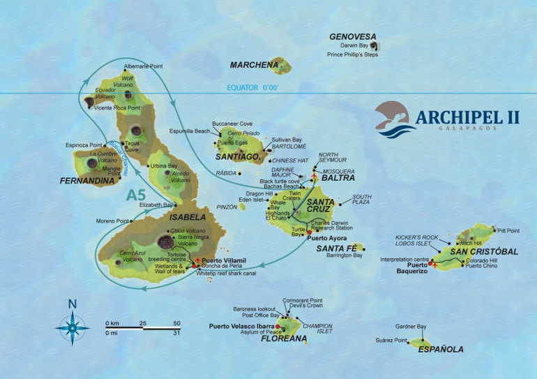 Archipel II Itinerary Map A5