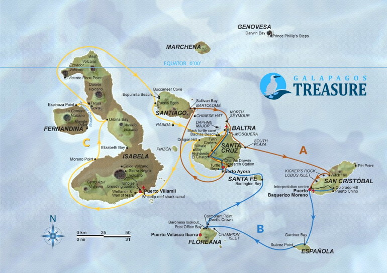 Treasure of Galapagos Map Itinerary ABC