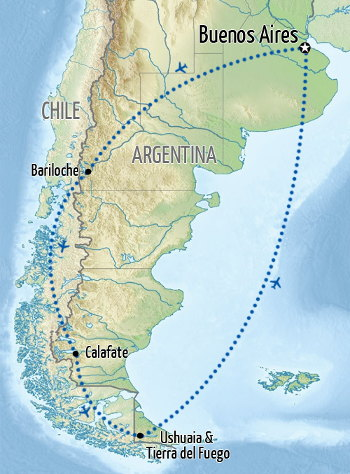Argentina: Patagonia and Lake District Holiday Map