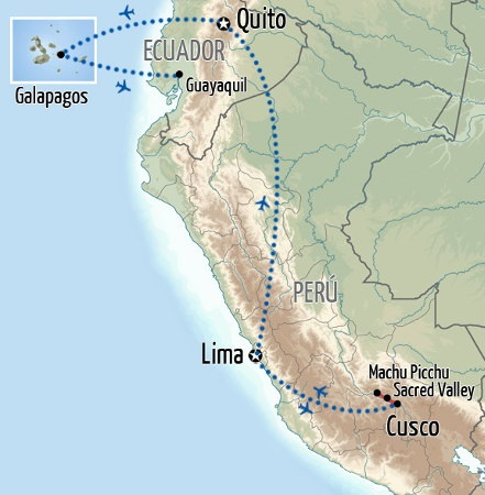 Machu Picchu and Galapagos Map